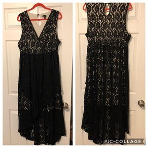Torrid High Low Lace Black and Ivory Tank Dress 2X